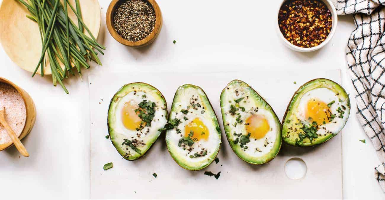 Baked Avocado Egg Boats with Fresh Herbs